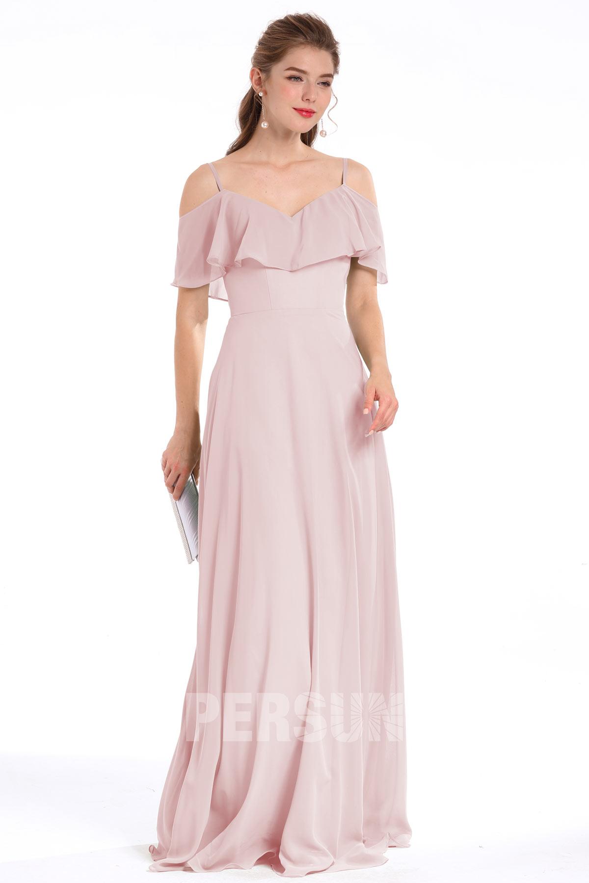 robe demoiselle d'honneur longue rose épaule dégagée à volant bretelles