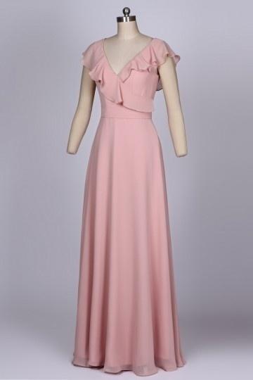 Robe longue col V volanté pour soirée de mariage vieux rose