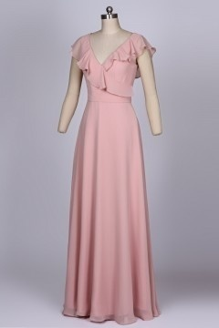 Robe soirée rose dragée longue col décolleté en V