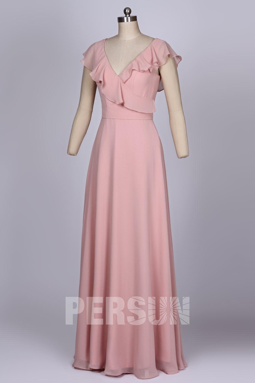 Robe rose poudré mariage longue ruchée dos découpé