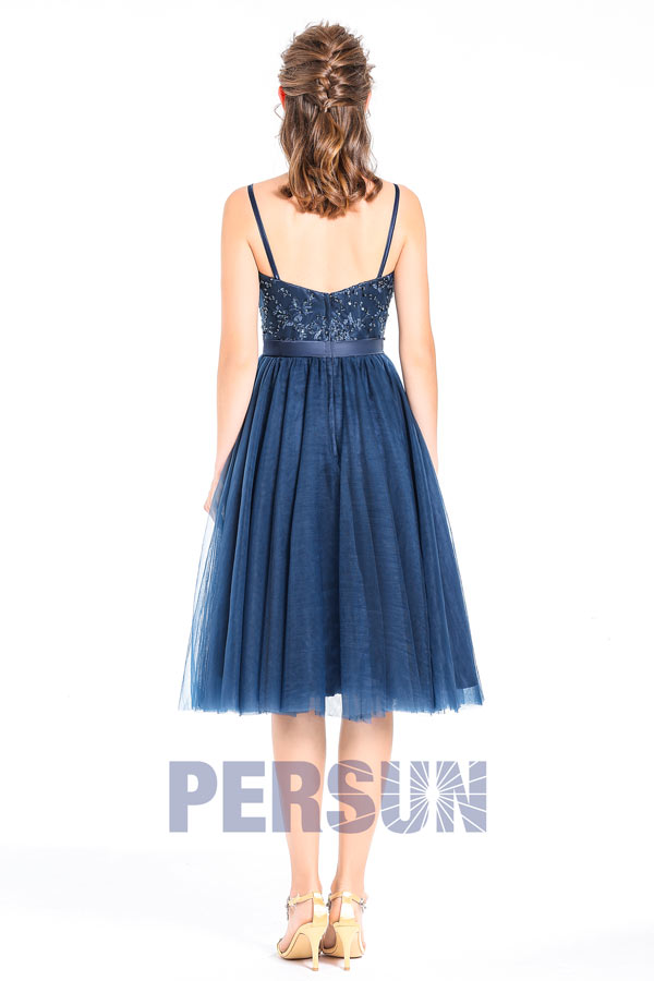 robe chic bleu marine haut en dantelle pour cocktail. Black Bedroom Furniture Sets. Home Design Ideas