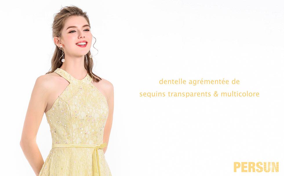 robe d'anniversaire jaune orné de strass colorés en dentelle
