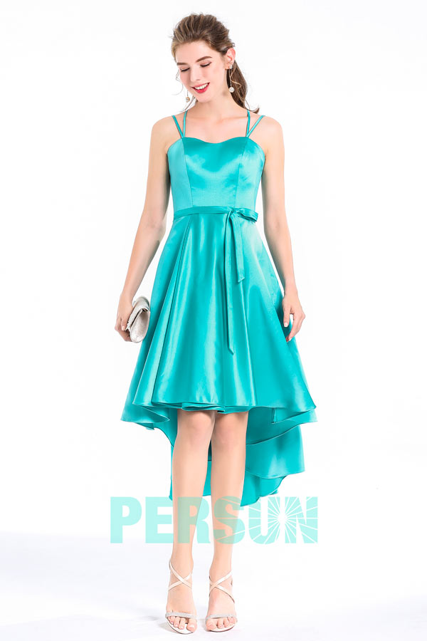 2a9d8b312be Robe cocktail longue derrière en satin mer du sud - Persun.fr