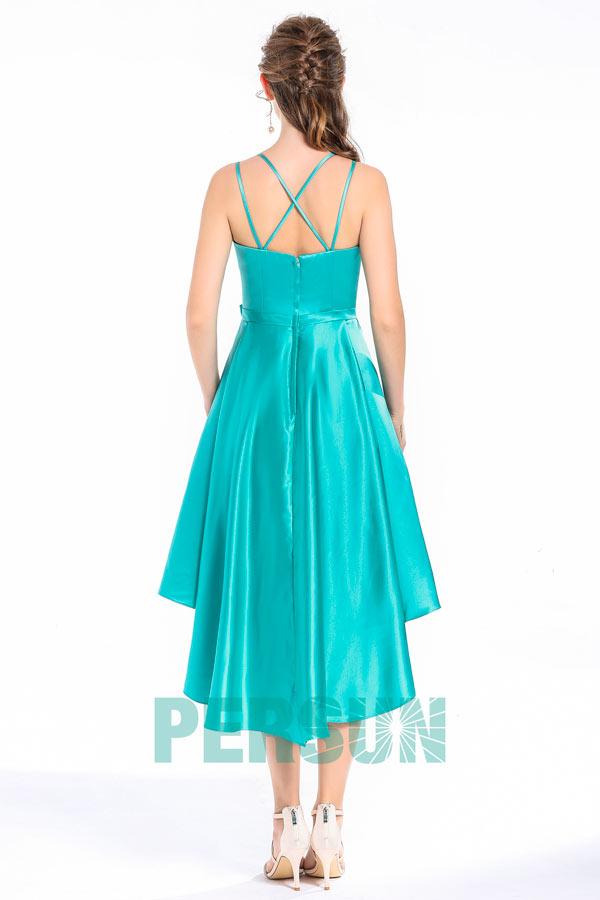 Elégant robe cérémonie bleu céleste bustier en coeur aux bretelles fines & jupe irrégulière
