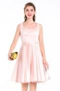 rosa knielang Elegante Cocktailkleid aus Satin