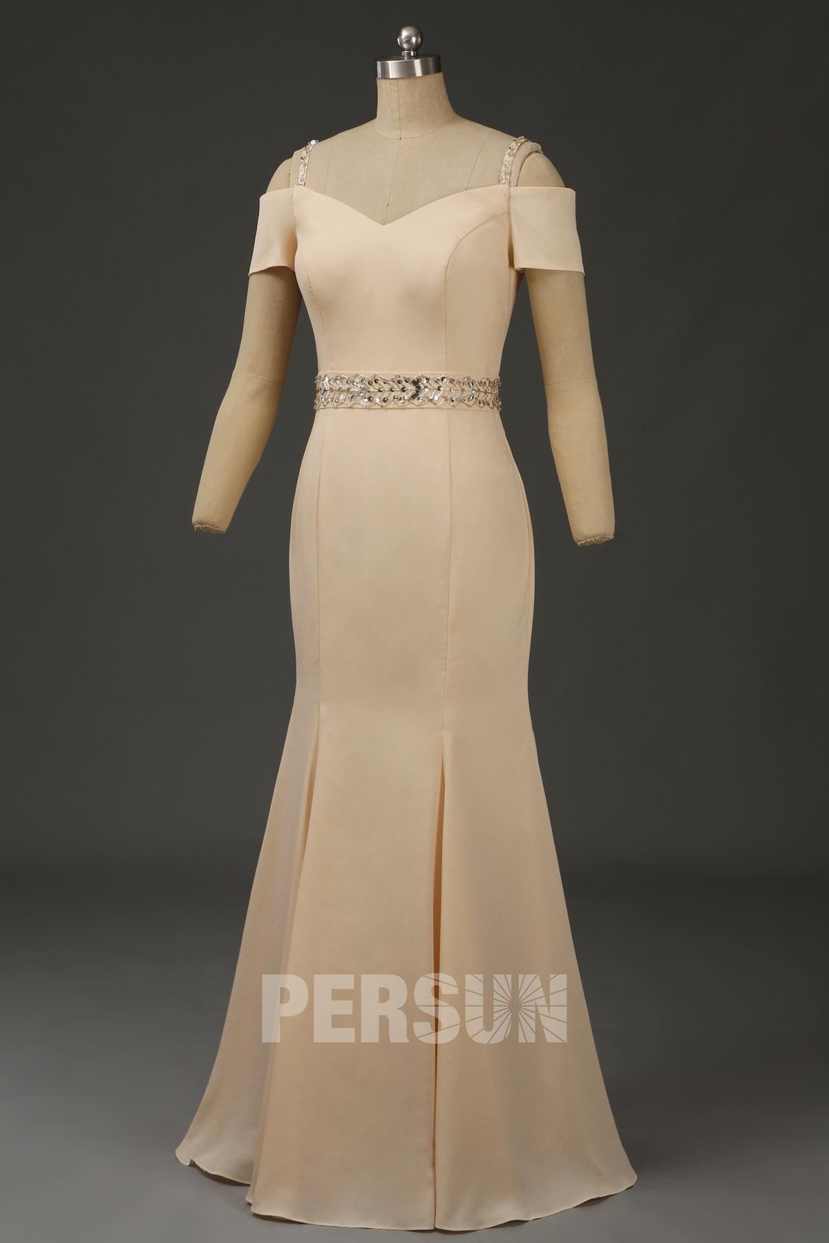 robe soirée sirène champagne épaules dénudées pour mère de mariée
