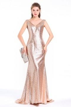 Robe soirée sirène chic en sequin champagne doré à col V