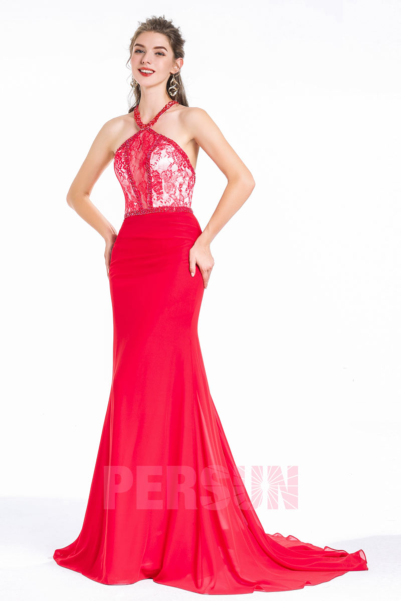 robe de soirée rouge sirène longue col halter en dentelle florale