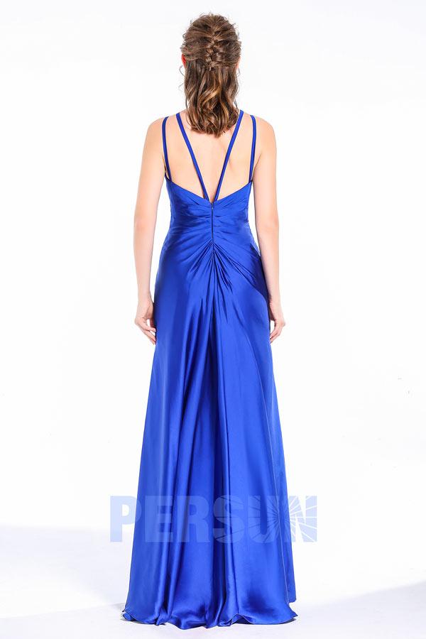 Femme robe longue de gala col rond aux bretelles fines avec fente frontale