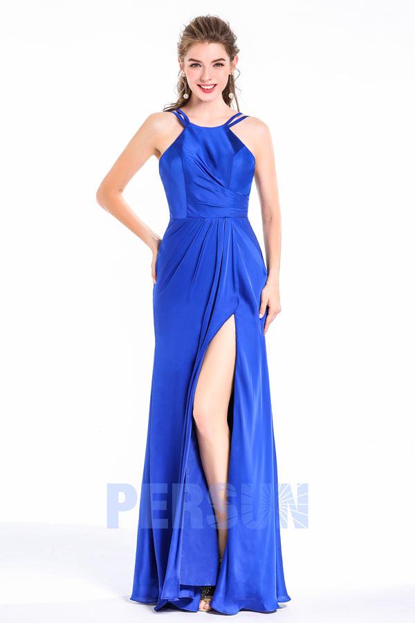 robe longue de soirée fendue bleu roi en satin