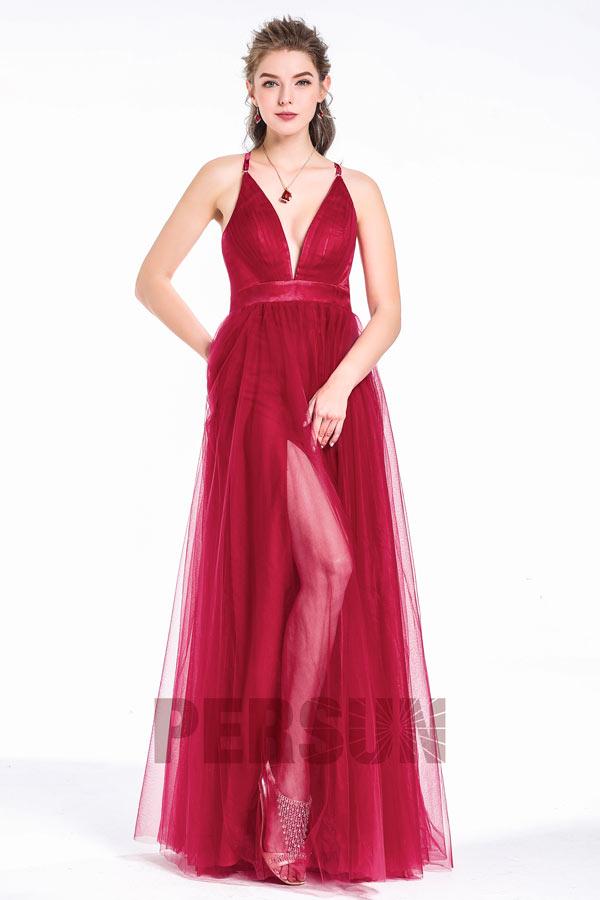 robe de soirée rouge bordeaux fendue sexy col en V