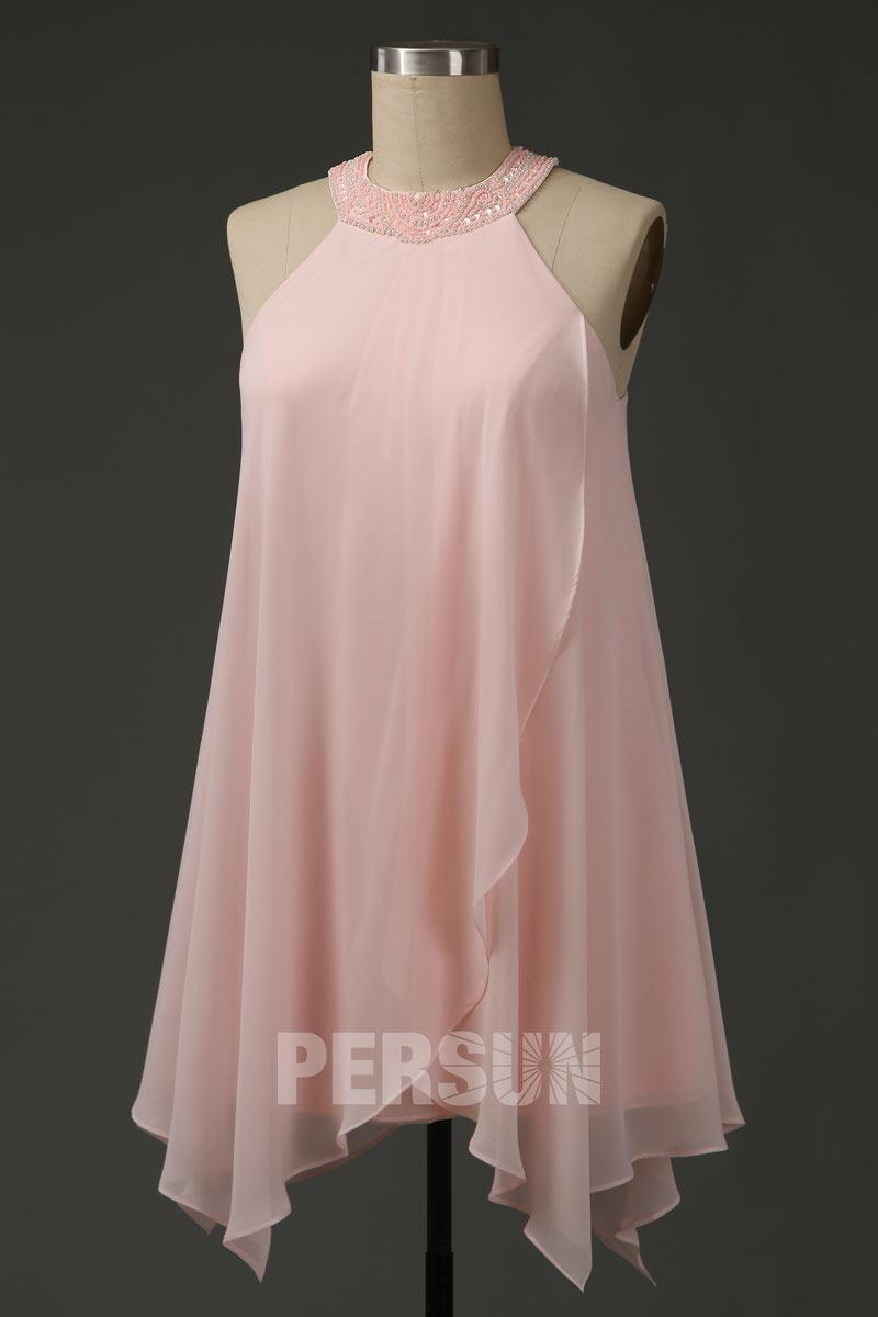 robe courte rose fantaisie col rond embelli de bijoux