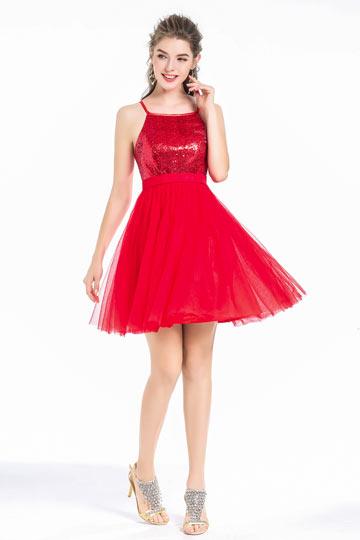 Robe de soirée courte patineuse sequin rouge jupe évasée