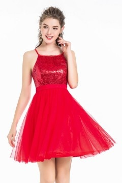 Chic robe rouge encolure carrée à haut en sequins & épaule dénudée pour cocktail mariage