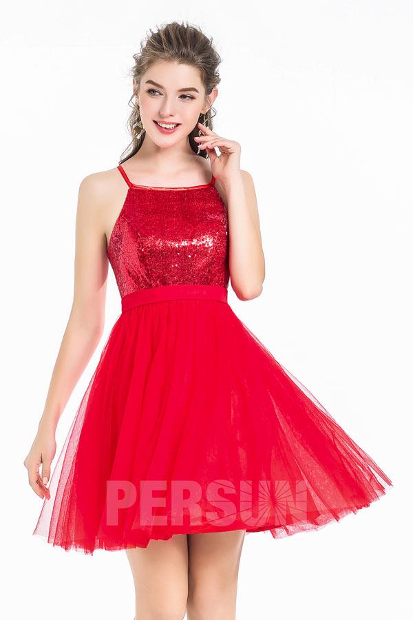robe de cocktail rouge courte bustier en sequin et jupe en tulle