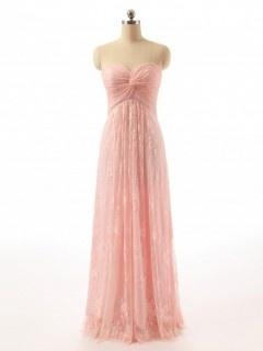Longue robe rose poudré pour gala bustier coeur en dentelle