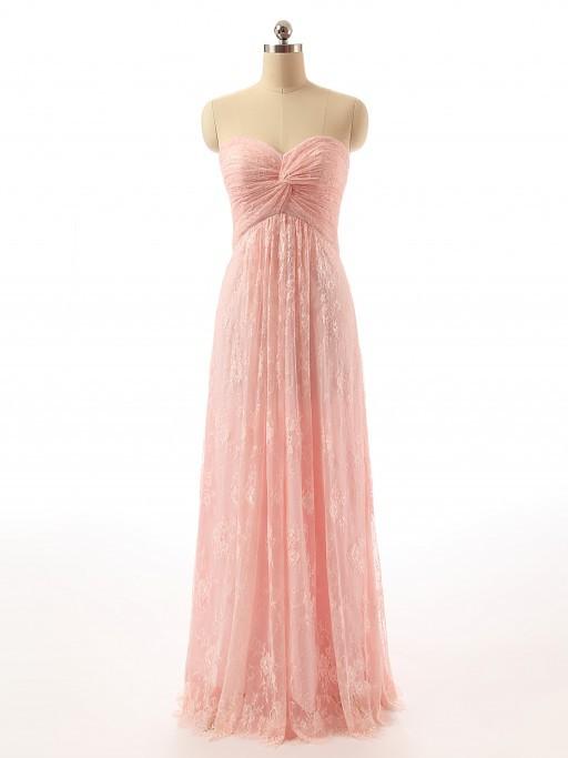 Longue Robe Rose Poudre Pour Gala Bustier Coeur En Dentelle