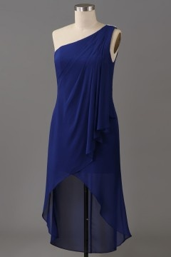 Robe soirée asymétrique courte devant couleur framboise ourlet irrégulier
