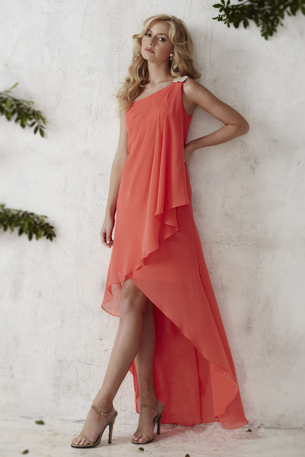 Robe corail bal pour femme col asymétrique épaule avec strass étincelant