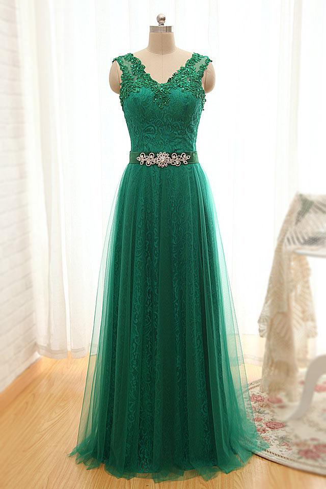 Elégante robe de soirée verte longue dentelle recouverte