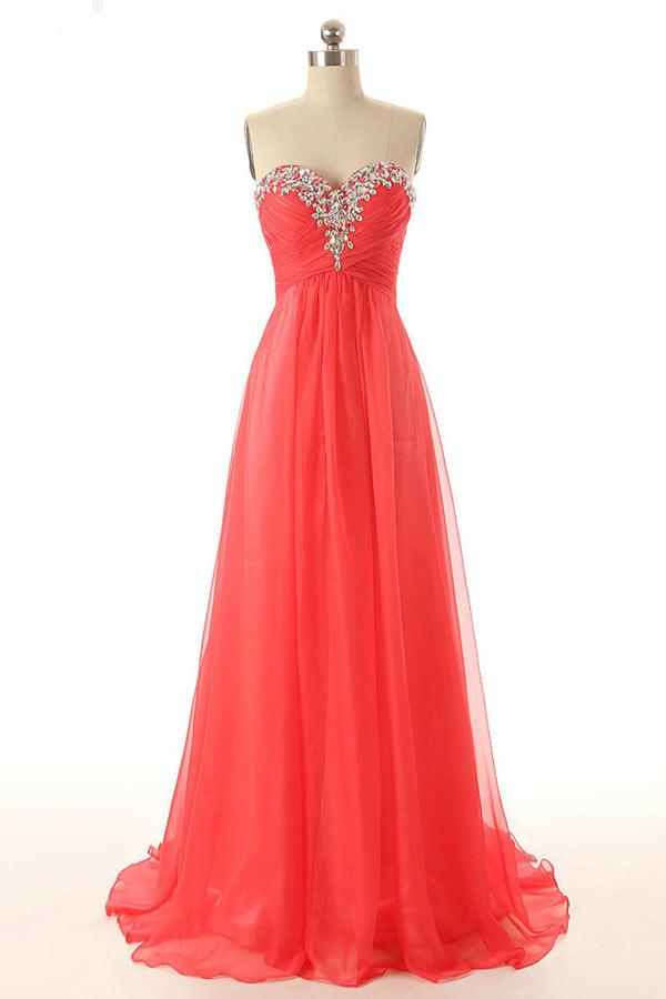 robe de soirée longue rouge corail bustier coeur embelli de strass