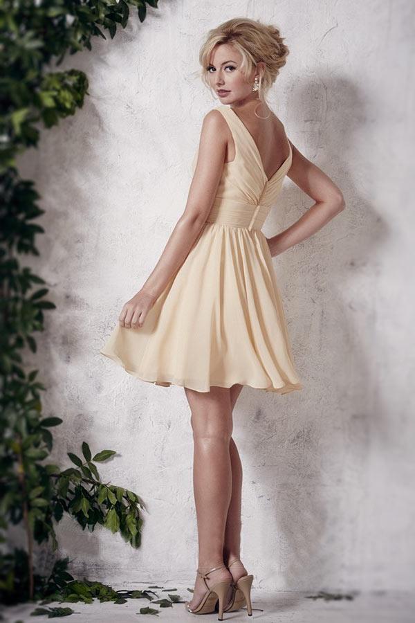 robe soirée élégante courte champagne en mousseline pas cher