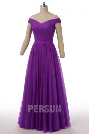 Robe de cérémonie rubis princesse élégante épaule dénudée