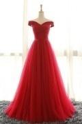 Robe de cérémonie rouge princesse élégante épaule dénudée