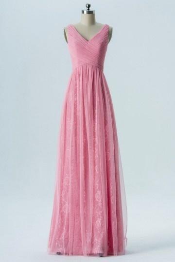 Robe rose flamingo cortège mariage longue col v en dentelle & tulle