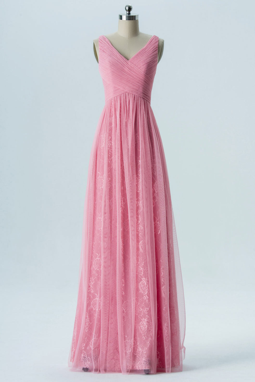 4924daf983578 Robe rose flamingo cortège mariage longue col v en dentelle   tulle ...