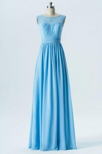 Robe longue bleu ciel simple dos v pour mariage