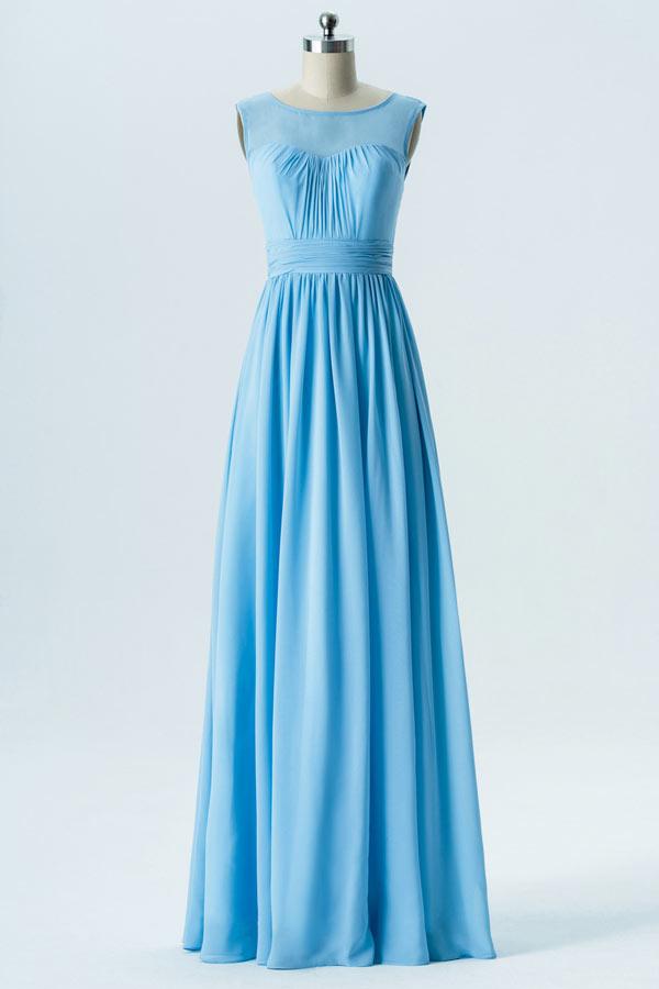 robe demoiselle d'honneur longue simple bleu ciel col illusion