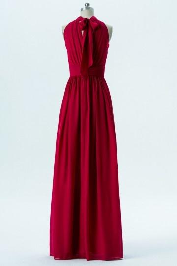 0120f0e9e5d Robe soirée longue bordeaux rouge col montant épaule dégagée ...