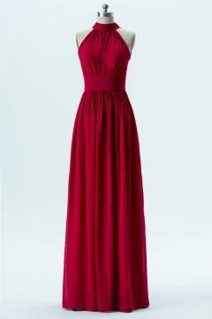 Robe soirée longue bordeaux rouge col montant épaule dégagée