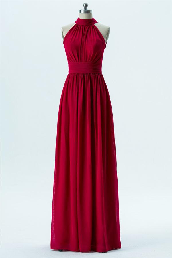 Robe bordeaux rouge longue pour cérémonie mariage en mousseline