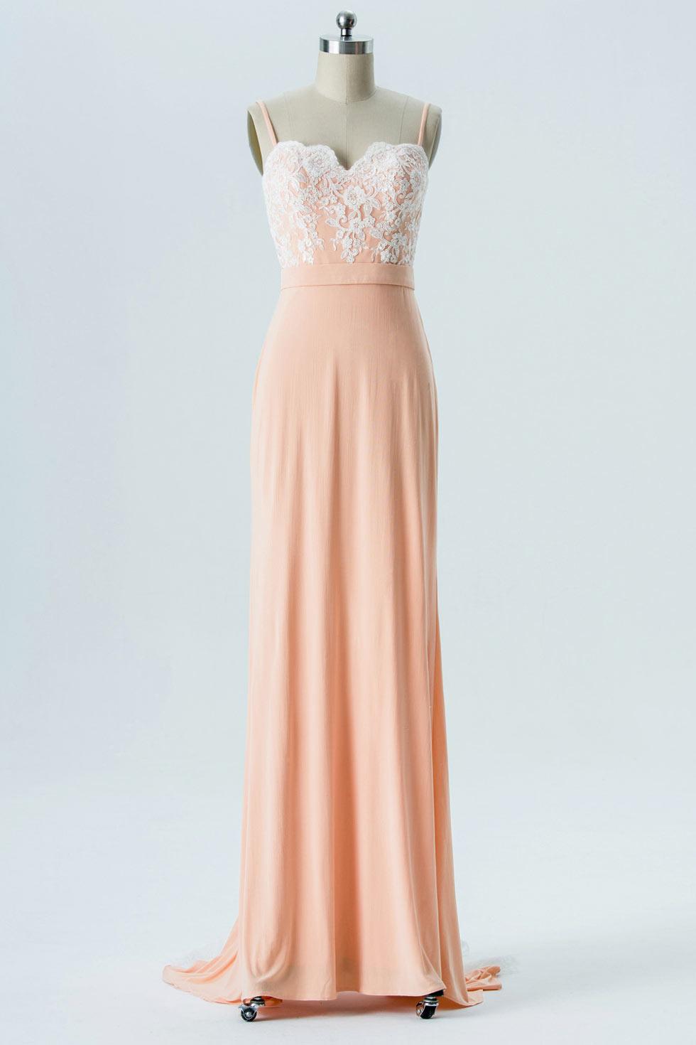robe de soirée orange claire longue haut en dentelle appliquée élégante avec bretelles fines
