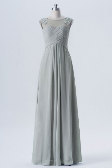 Longue robe soirée grise argentée simple épaule appliquée