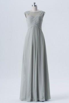Robe grise longue pour cocktail de mariage encolure illusion