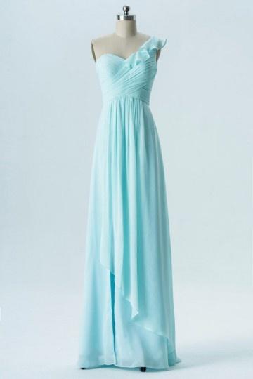Robe longue bleu clair asymétrique pour soirée de mariage