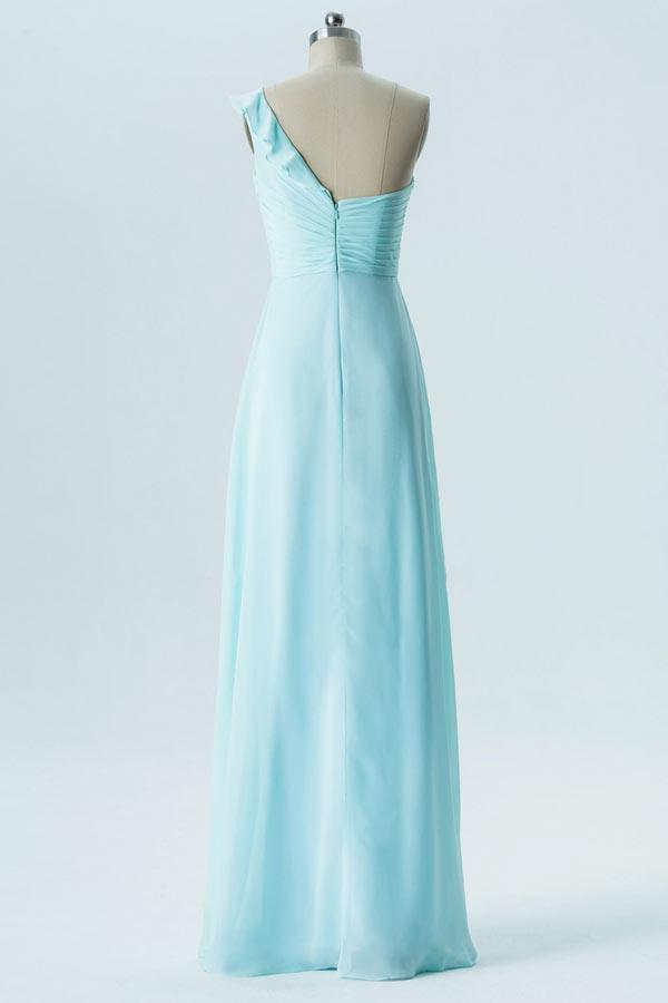 Robe cocktail mariage bleu cyan longue asymétrique avec froufrou
