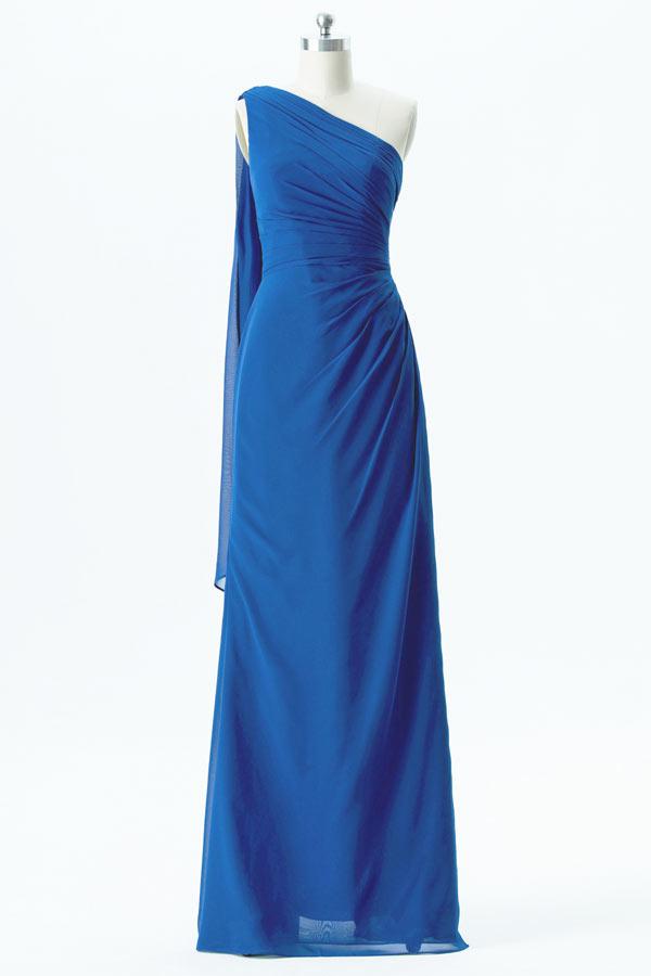 Robe de cérémonie bleu royal asymétrique longue en mousseline