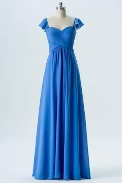 Robe de cérémonie simple bleue longue avec mancherons