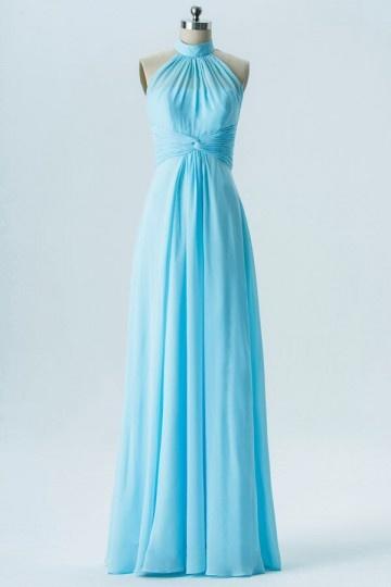 Robe de soirée turquoise longue col haut épaule découverte