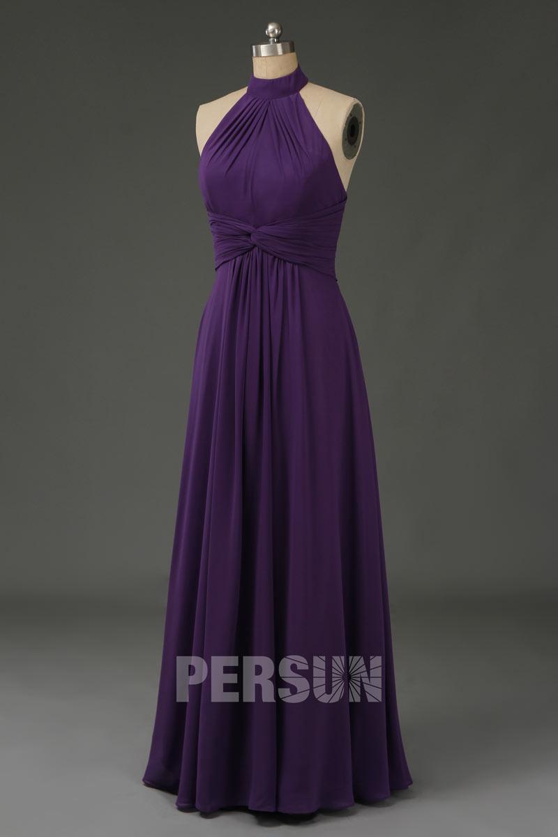 robe de soirée longue violette col américain simple taille plissé