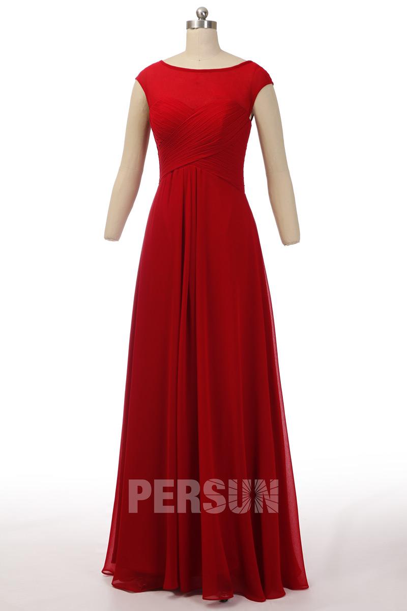 robe soirée rouge simple longue à col bateau avec mancherons