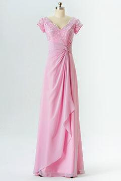 Robe rose longue pour demoiselle d'honneur avec courte manche