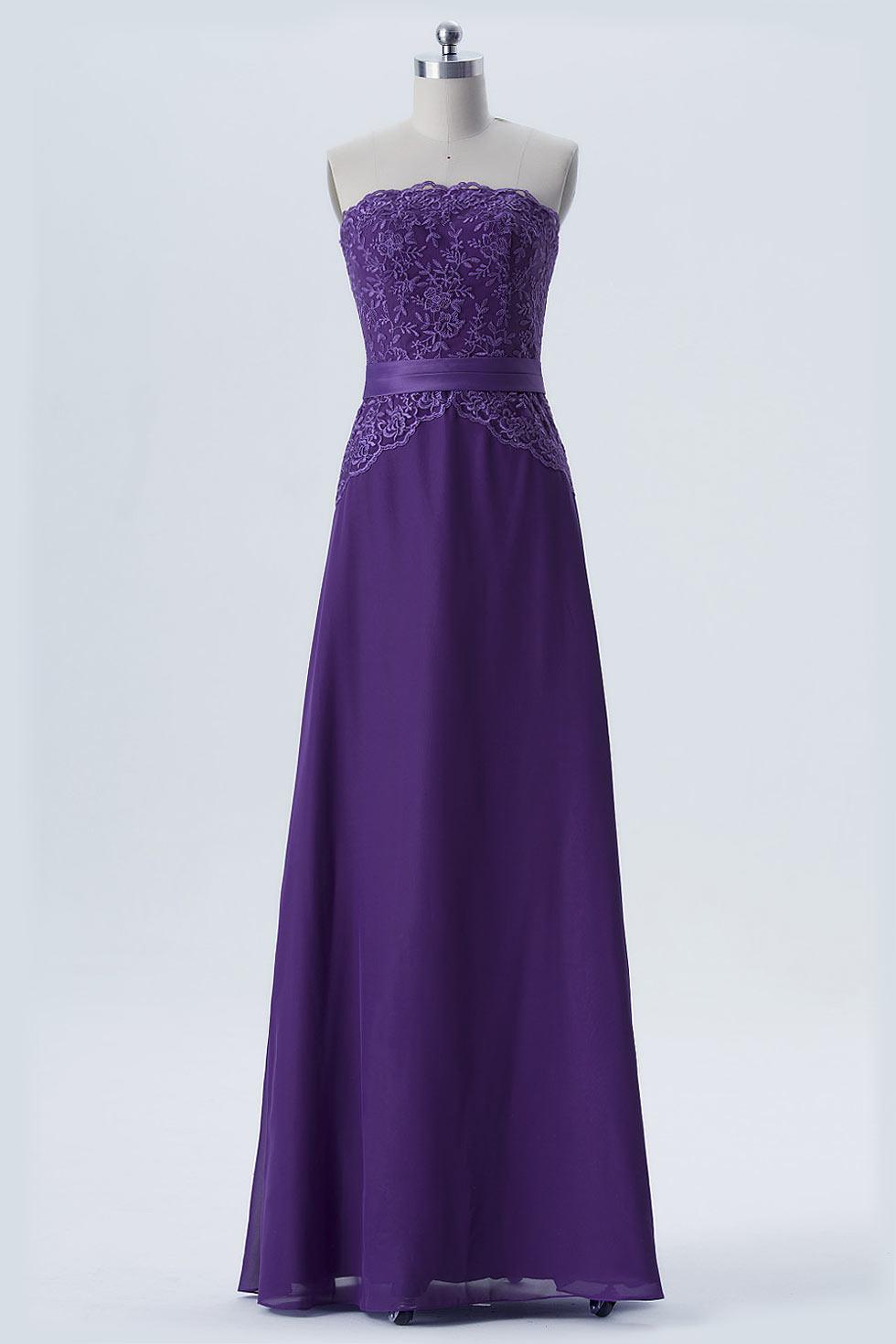 Robe habillée mousseline violette longue bustier dentelle