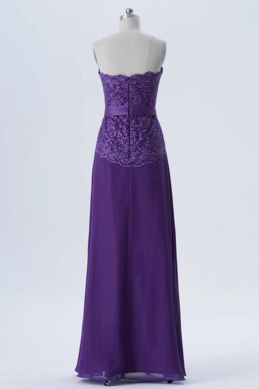 Robe de gala violette bustier droit haut en dentelle guipure
