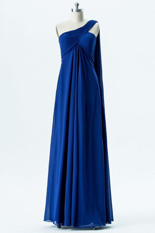 robe de cocktail longue bleu roi empire asymétrique bustier plissé avec voilage