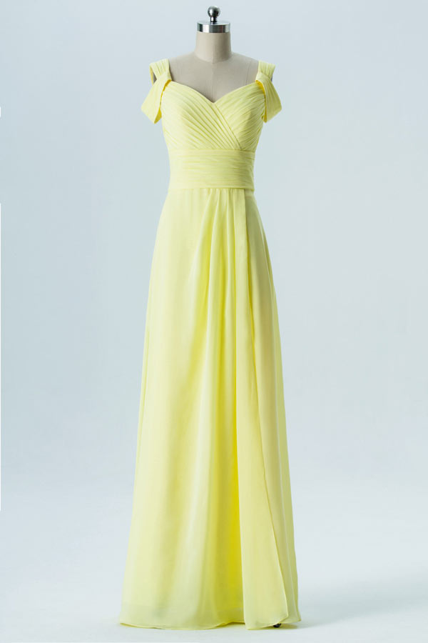Robe longue de cocktail jaune